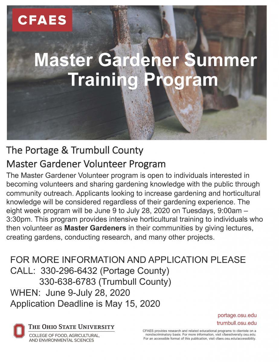 Master Gardener Summer Training Program